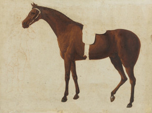 Art Prints of Saddled Horse Held by a Man at the Bridle by Jacques-Laurent Agasse