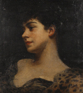 Art Prints of Bust Portrait of Judy Fox, a Bacchante by James Carroll Beckwith