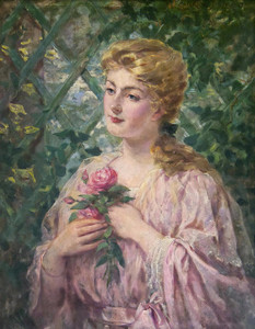 Art Prints of Portrait of a Woman Holding a Rose by James Carroll Beckwith
