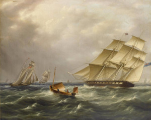 Art Prints of Frigate under Full Sail in the Channel by James Edward Buttersworth