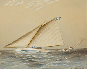 Art Prints of A Racing Yacht on Great South Bay by James Edward Buttersworth