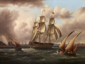 Art Prints of Three Decker, White Fleet off Belem Castle by James Edward Buttersworth