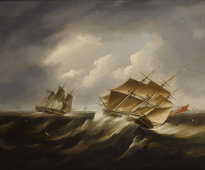 Art Prints of British Frigates in a Black Squall by James Edward Buttersworth