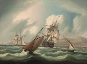 Art Prints of First Rater Off the Spanish Coast by James Edward Buttersworth