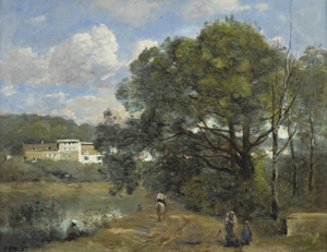 Art Prints of Along the Pond to the Corot Property, d'Avray City by Camille Corot