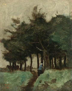 Art Prints of Trail Dominated by Trees, Boulogne Hollow by Camille Corot