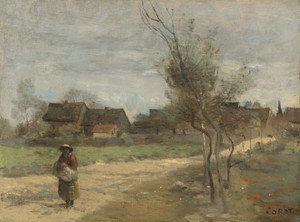 Art Prints of In Route from a Village by Camille Corot