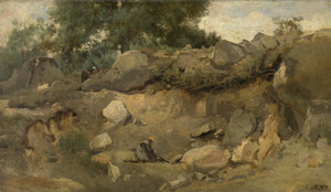 Art Prints of Stone Mines Fontainebleau by Camille Corot