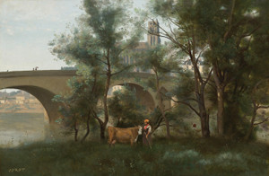 Art Prints of The Banks of the Seine at the Foot of the Bridge by Camille Corot
