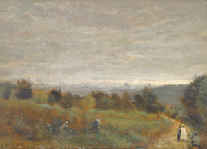 Art Prints of The Heights Sevres, Paris in the background by Camille Corot