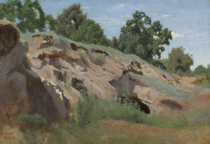 Art Prints of Versant Rocheux or Rocky Slope by Camille Corot