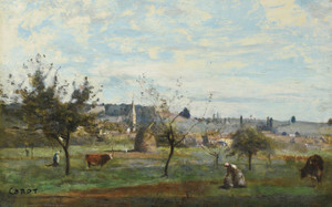 Art Prints of Village in the Area of mantes by Camille Corot