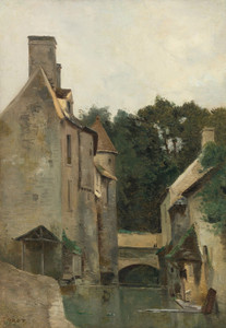 Art Prints of Washerwomen, Moulin by Camille Corot