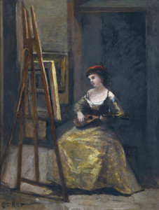 Art Prints of Woman Playing the Mandolin by Camille Corot