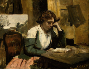 Art Prints of Young Girl Reading by Camille Corot