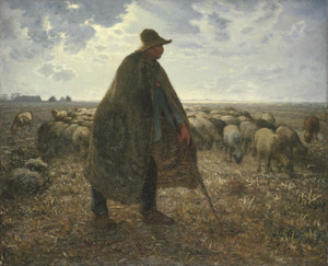 Art Prints of Shepherd Tending His Flock by Jean-Francois Millet