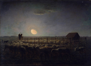 Art Prints of The Sheepfold, Moonlight by Jean-Francois Millet