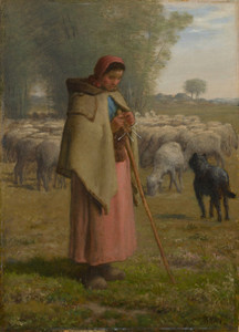 Art Prints of Young Girl Guarding Her Sheep by Jean-Francois Millet