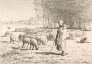 Art Prints of Shepherdess with Her Flock by Jean-Francois Millet