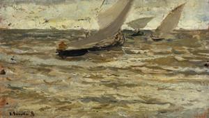Art Prints of Boats on the Asturias by Joaquin Sorolla y Bastida