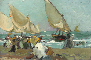 Art Prints of Boats on the Beach of Valencia by Joaquin Sorolla y Bastida
