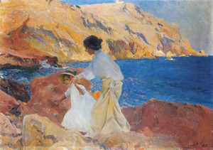 Art Prints of Clotilde and Elena on the Rocks, Javea by Joaquin Sorolla y Bastida