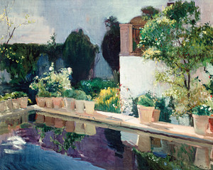 Art Prints of Palace of Pond, Royal Gardens in Seville by Joaquin Sorolla y Bastida