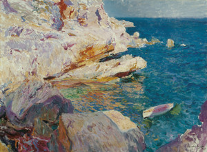 Art Prints of Rocks at Javea, the White Boat by Joaquin Sorolla y Bastida