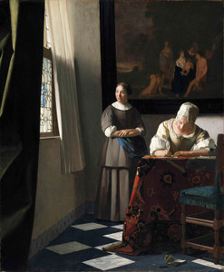 Art Prints of A Lady Writing a Letter with Her Maid by Johannes Vermeer
