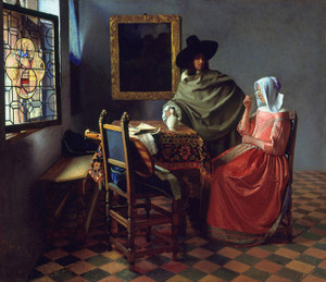Art Prints of The Glass of Wine by Johannes Vermeer