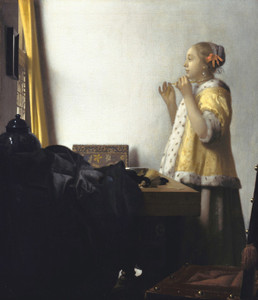 Art Prints of Young Woman with a Pearl Necklace by Johannes Vermeer