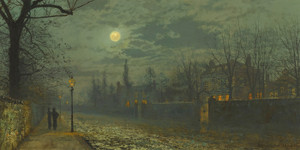 Art Prints of A Moonlit Walk by John Atkinson Grimshaw