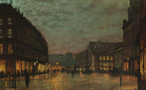 Art Prints of Boar Lane Leeds by Lamplight by John Atkinson Grimshaw