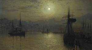Art Prints of Old Scarborough Full Moon High Water by John Atkinson Grimshaw