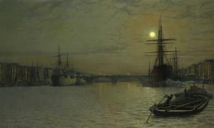 Art Prints of The Pool and London Bridge at Night by John Atkinson Grimshaw
