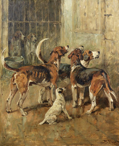 Art Prints of Hounds and a Terrier in Kennels by John Emms
