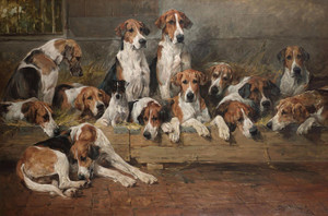 Art Prints of New Forest Foxhounds by John Emms