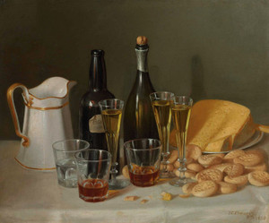Art Prints of Still Life with Cheese and Wine by John F. Francis
