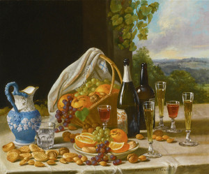 Art Prints of Still Life with Wine and Fruit by John F. Francis