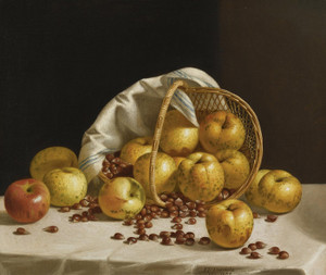 Art Prints of Still Life, Yellow Apples and Chestnuts by John F. Francis