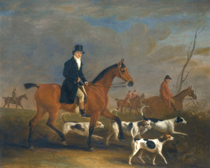 Art Prints of Henry Combe Compton on a Bay Hunter with Hounds by John Ferneley