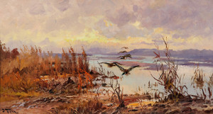 Art Prints of Ducks Over the Marsh by John Fery
