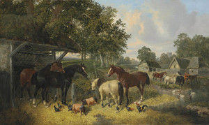 Art Prints of Horses, Pigs and Chickens in a Farmyard by John Frederick Herring