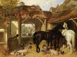 Art Prints of Horse, Pigs and Poultry in a Farmyard by John Frederick Herring