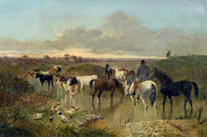 Art Prints of Horses on a Riverbank by John Frederick Herring