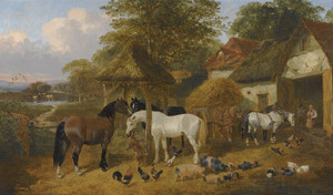 Art Prints of The Farmyard Carthorses and a Goat by John Frederick Herring
