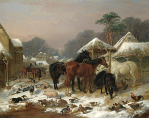 Art Prints of The farmyard in Winter by John Frederick Herring