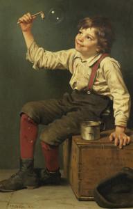 Art Prints of Boy Blowing Bubbles by John George Brown