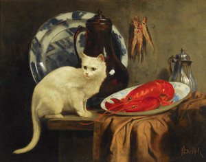 Art Prints of Still Life with Cat and Lobster by John Henry Dolph