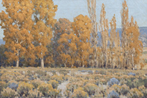 Art Prints of Cottonwoods and Rabbit Brush by John Marshall Gamble